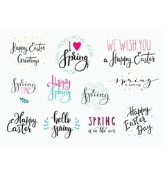 Hello spring happy easter lettering typography set vector