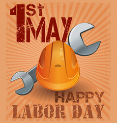 International labor day 1st may retro poster vector