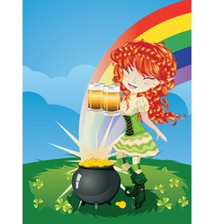Leprechaun Girl on Grass Field3 vector image vector image