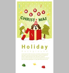 Merry christmas greeting banner with dog inside vector
