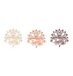 multi colored logo icons set for krishna birthday vector image vector image