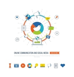 Online communication and social media concept vector