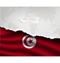 Paper with hole and shadows tunisia flag vector