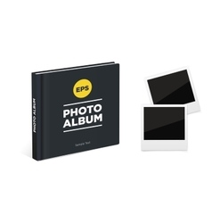 Photo album book with black cover and vintage vector