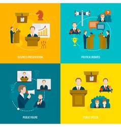 Public speaking flat set vector