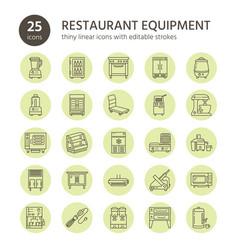 restaurant professional equipment line icons vector image