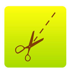 Scissors sign brown icon at vector