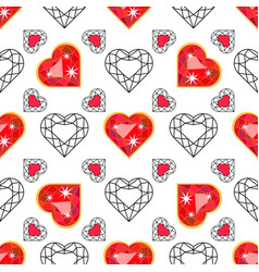 seamless pattern with red gem ruby vector image
