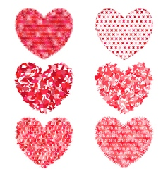 Set of multi-colored hearts to decorate and design vector image vector image