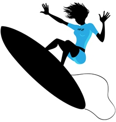 Silhouette of a woman surfing vector image