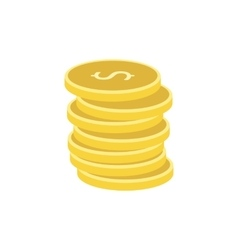 Stack of gold coins flat icon vector image vector image