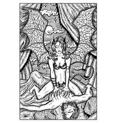 Succubus female demon engraved fantasy vector