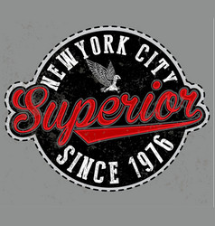 superior tee graphic emblem vector image
