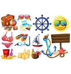 Things ideal for a beach outing vector