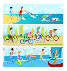 Triathlon sport competition race infographic for vector