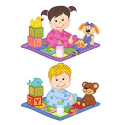 Baby boy and girl sit on carpet with toys vector