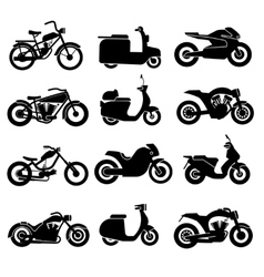 Motorcycle black icons set vector