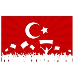 Cheering or protesting crowd with turkey flag vector