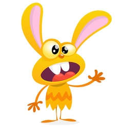 Cute yellow monster rabbit vector