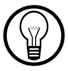 Light bulb button on white vector