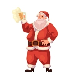 Full length portrait of santa raising a beer glass vector