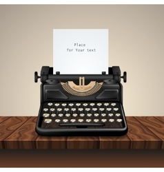 Black Vintage Typewriter On Wooden Table vector image
