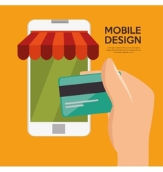 Mobile design shop store virtual technology vector