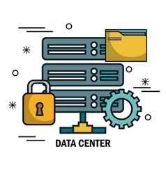 Data center flat line icons vector