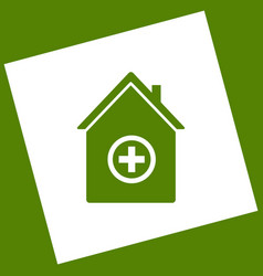 Hospital sign   white icon vector