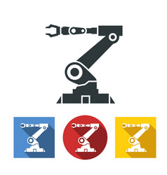 Flat icons of robotic hand machine tool at vector