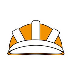 Color silhouette cartoon yellow helmet for vector