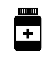 black icon pill bottle vector image