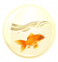 Ball with goldfish vector