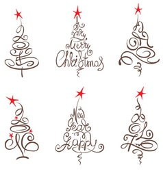 Collection abstract christmas trees vector