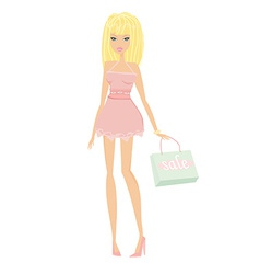 Cute sexy girl with shopping bag vector