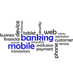 Word cloud mobile banking vector