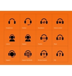 Earphones icons on orange background vector