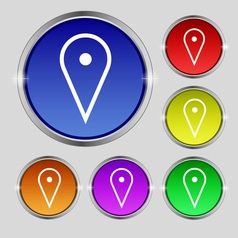 Map poiner icon sign round symbol on bright vector