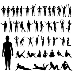 Woman poses silhouettes set vector