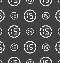 15 second stopwatch icon sign seamless pattern on vector