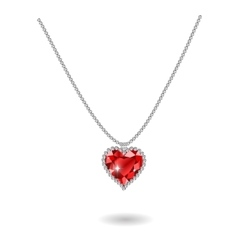 Beautiful gemstone red ruby heart vector