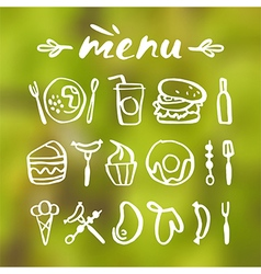Food icons in hand drawn style vector