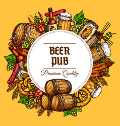 Beer pub barrels mugs and snacks poster vector
