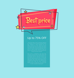 best price up to 75 percent off special offer sale vector image