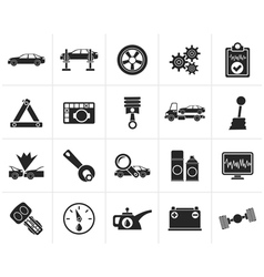 Black car services and transportation icons vector