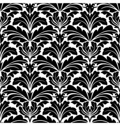 Bold black and white damask floral seamless vector image vector image