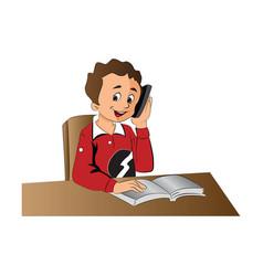 boy using a cellphone vector image vector image