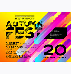 Bright autumn electronic music poster vector