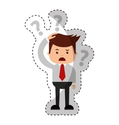 businessman funny with Doubt series character icon vector image