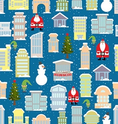 City Christmas landscape New year city Snowfall vector image